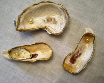 Oyster shell trinket holders, set of 3