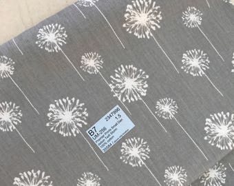 Stunning grey dandelion heavy cotton fabric