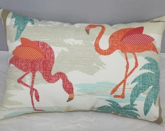 Lumbar Pillow  Tropical Flamingo Sun and Shade Fabric   14 x 9 inches