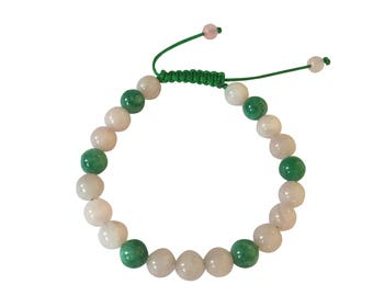 Rose Quartz and Green Jade Wrist Mala Yoga Bracelet