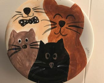 """8"""" Ceramic Plate with Cat Theme. Perfect Cat Lover Gift."""