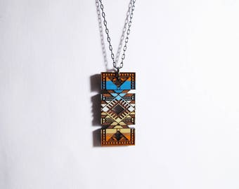 Moroccan Rectangular Necklace 1, Wood, Sahara Desert Colors 1
