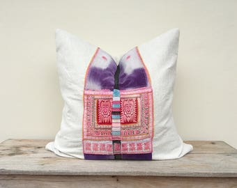 """Antique ethnic Hmong Embroidered Patch Organic Hemp Pillow Case 26"""" x 26""""  Embroidered ethnic ornaments One of a kind"""