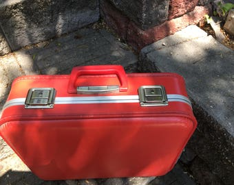 Vintage Red Suitcase with Key Near Perfect Mid-century 1970s 1960s