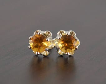 Citrine Earrings, Stud Earrings, Child or Teen, Genuine Gemstone, Flower, 4mm Stone, Sterling Silver Post, November Birthstone Jewelry