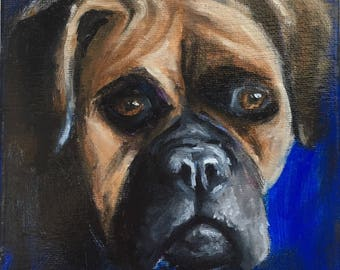 "Boxer 6x6"" Original Oil Painting on Gallery Wrapped Canvas, dog portrait"