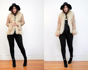 Vintage Afghan Penny Lane Real Mongolian Lamb Fur Real Fur Tibetan Suede Leather Jacket Coat 70's RARE