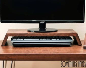 Custom listing computer  monitor  stand solid WOOD  cherry