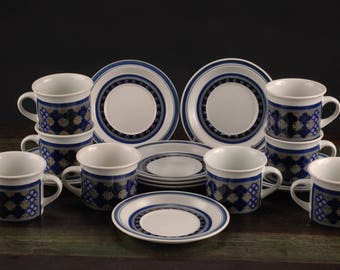 Royal Doulton, Tangier, Lambeth Stoneware, England, Set of 8 Cups and Saucers