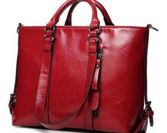 TRAVEL Red Genuine LEATHER Oiled Bag Women
