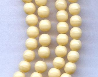 Light Beige Opaque Czech Druk Beads