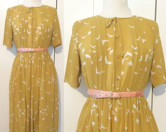 70s bird dress, mustard yellow, Japanese vintage M L