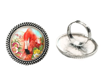Flamingo with Flowers Glass 25mm Cabochon Silver Double Rope Adjustable Ring