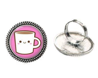 Kawaii White Coffee Mug Glass 25mm Cabochon Silver Double Rope Adjustable Ring
