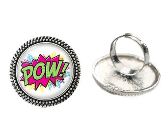 Pow Comic Blurb Glass 25mm Cabochon Silver Double Rope Adjustable Ring