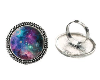 Galaxy Ring Glass 25mm Cabochon Silver Double Rope Adjustable Ring