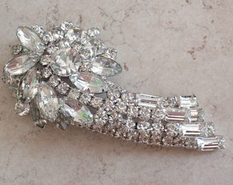 Juliana Crystal Brooch Ice Silver Tone Comet Shooting Star Vintage 082616AN