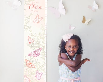 Personalized/ Custom Girls Butterfly Growth Chart - Roots to grow and wings to fly! - perfect for girl nursery or room or baby shower gift