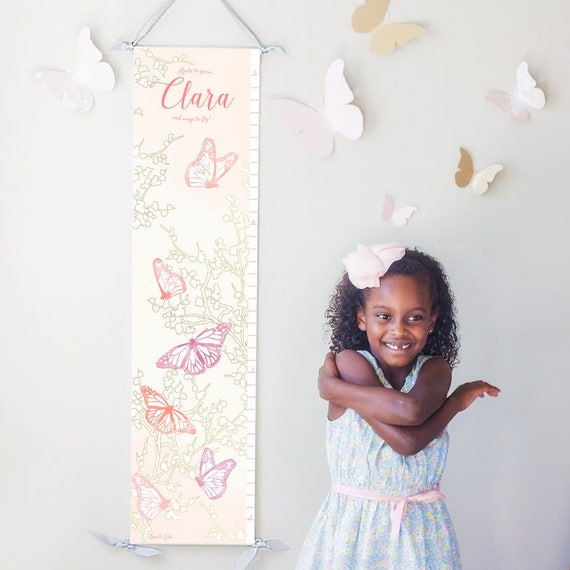 "Personalized ""Roots to grow and wings to fly!"" butterfly canvas growth chart"