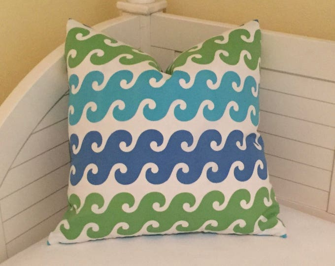 Tide Pool in Turquoise, Green and Blue Indoor Outdoor Pillow Cover - Square and Euro Sizes