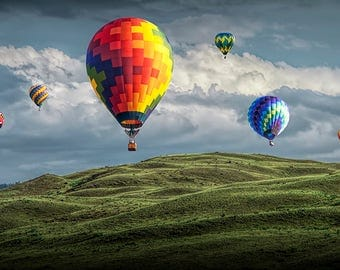Hot Air Balloons over Green Fields against a Cloudy Sky at a Balloon Festival No.1012 A Fine Art Aviation Photograph