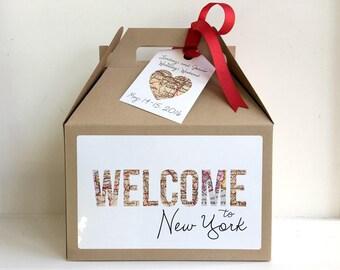 Wedding Welcome Bag, Wedding Welcome Box, Map Wedding Welcome Box Sticker, Map Invitations, Map Favor Box, Travel Bridal Shower