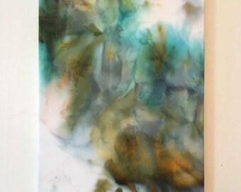 "Abstract Art ""Mist"" Green, Teal, Brown, Gold 16x20"