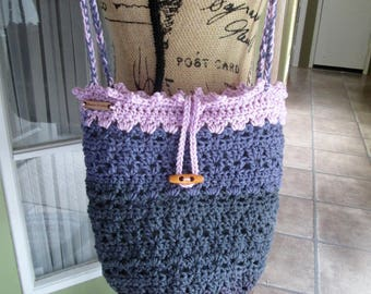 Fully lined crochet hobo purse, grays and pink, large