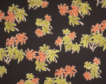 Olive Green and Orange on Black Clustered Palm Trees Print Rayon Hawaiian Shirting Fabric--By the Yard
