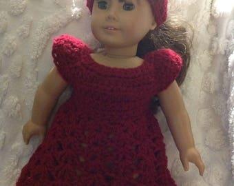 Maroon wine deep scarlet doll dress hat set for America girl bitty baby reborn next generation crochet dress clothing