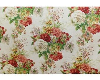 Fabric Sample Waverly Ballad Bouquet in Radish Fabric Sample