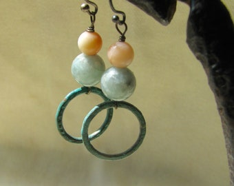 pink and blue green patinated dangles
