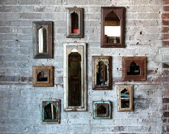 Moroccan Mirror Vintage Wood Framed Mirror Wood Wall Art Chippy White Turkish Decor