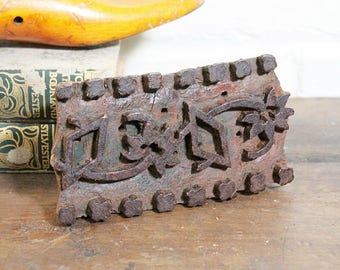 Printing Block 6 x 3.5 Vintage Indian Fabric Art Tool Diamonds and Flowers