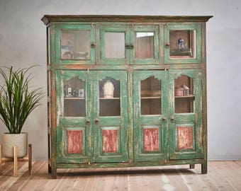China Cabinet Buffet Reclaimed Vintage Bar Cabinet Large Curio Bookcase Media Console Retail Display