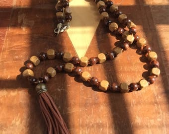 Tassel, and Brass accented , wood bead men's necklace