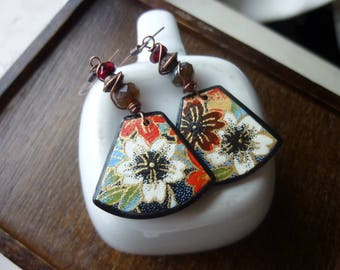 Chiyogami and Polymer Clay with Picasso Czech Glass Beads Artisan Earrings