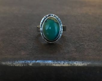 Nevada Turquoise & Sterling Silver Ring - Size 8 1/4