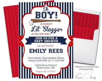 Baseball Baby Shower Invitation - Boys Baby Shower Invite - Baseball Invitation - Boy Baby Shower - Baseball Invite - Printable Baseball