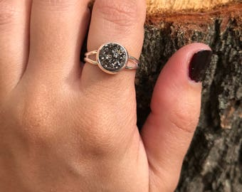 Silver Druzy Silver Adjustable Ring