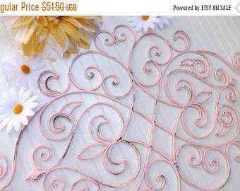 ON SALE LIGHT Pink // Metal Wall Decor// Fleur De Lis // Wrought Iron Decor/ / Shabby Chic Decor // Headboard
