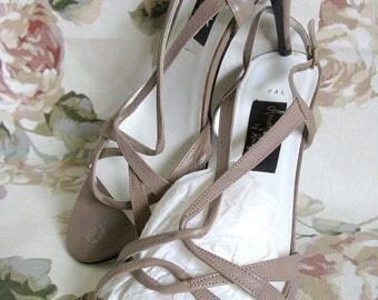 50OFF Event 70s Vintage Shoes Almalfi by Raugoni Taupe Strapy High Heel Sandals 9B