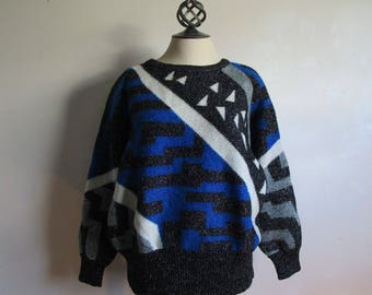 Vintage 80s Metallic Intarsia Sweater IB Diffusion Geometric Stripes Triangles Black White Silver Dolman Sleeves Pullover Knit Wear Large
