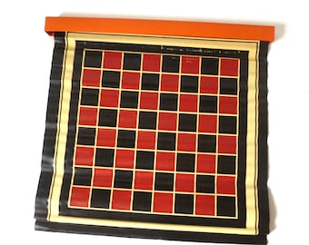 Vintage Checker Board Mat ... Includes Original Box, Red Black Rolled Checker Mat, Roll Up Game Mat, Waxed Woven Linen Game Board, Graphic