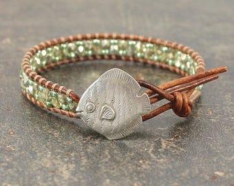 Fish Bracelet Beach Boho Silver Green Fish Jewelry Single Leather Wrap Bracelet