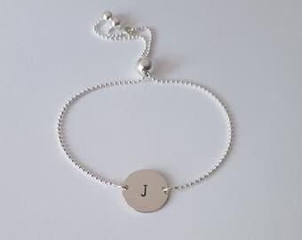 Sterling Silver Initial Bracelet, Sterling Silver Ball Chain, Adjustable Bracelet, Dainty Bracelet, Birthday Gift, Girl Gift