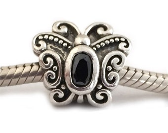 Butterfly Charm Bead Large Hole Sterling Silver Black Cubic Zirconia