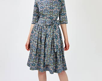 Wedding guest dress Blue bridesmaid dress Floral bridesmaid dress Engagement dress Long sleeved dress Fit and flare Plus size dress