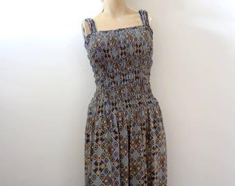 1980s Batik Sundress - vintage ethnic print rayon smocked bodice boho hippie day dress size S
