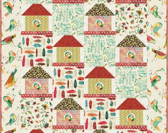 Twittering Birds Quilt ePattern, 5080-1e, bird house quilt pattern, bird house lap quilt pattern